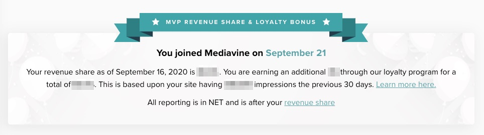 Mediavine loyalty bonus screenshot