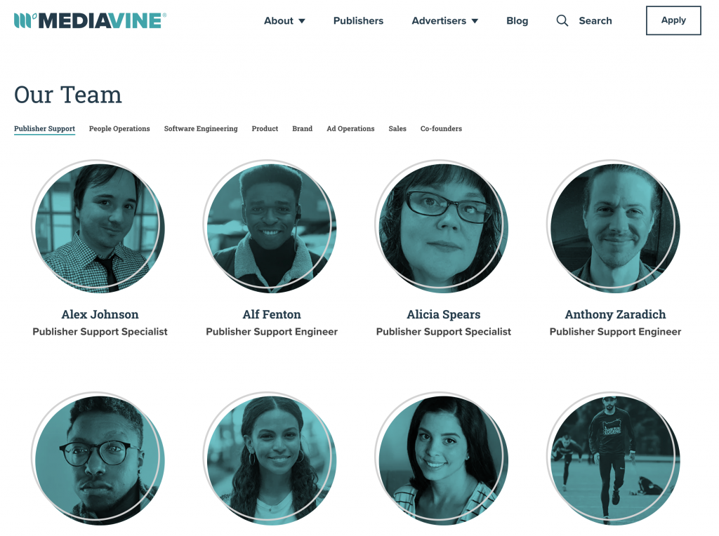screenshot of the mediavine team page