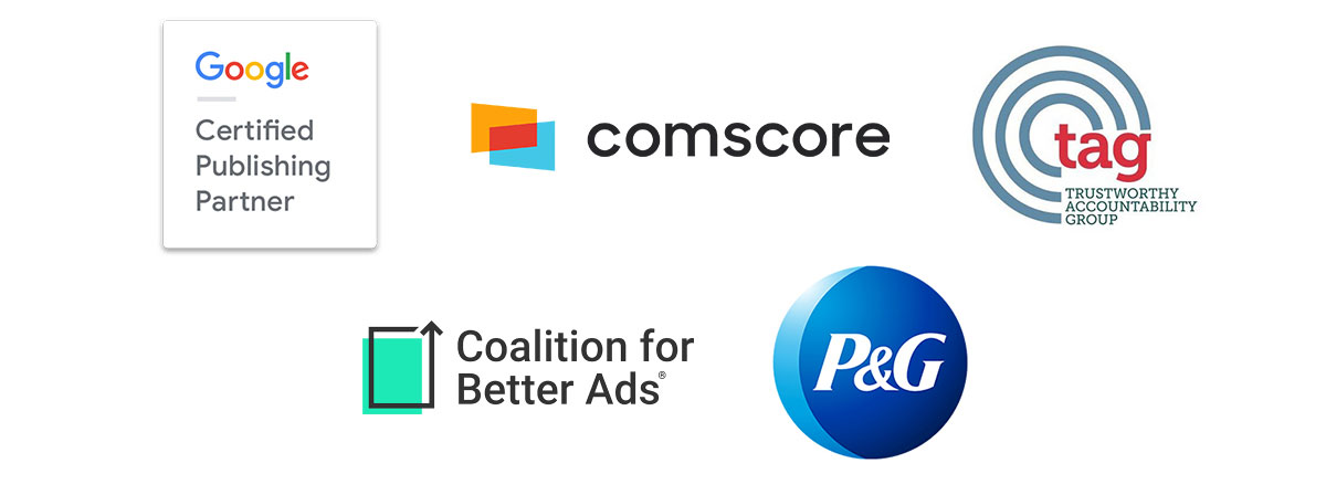 logos of google certified publisher partner, comscore, trustworthy accountability group, coalition for better ads, procter & gamble