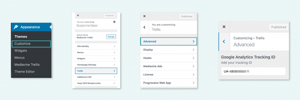 how to get to Google Analytics Tracking ID in trellis