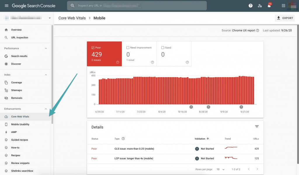 Google Search Console screenshot with arrow pointing to core web vitals tab.