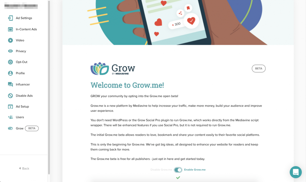 Grow.me beta in settings with opt-in button toggled on