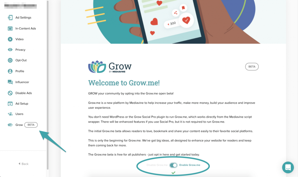 Grow.me beta opt-in screenshot