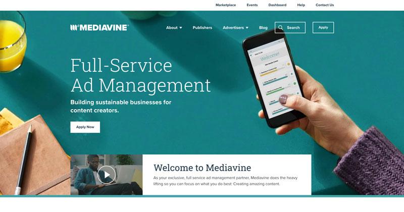 screenshot of Mediavine homepage
