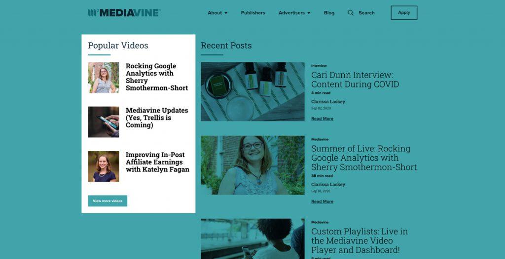 screenshot of the popular videos section on the mediavine website