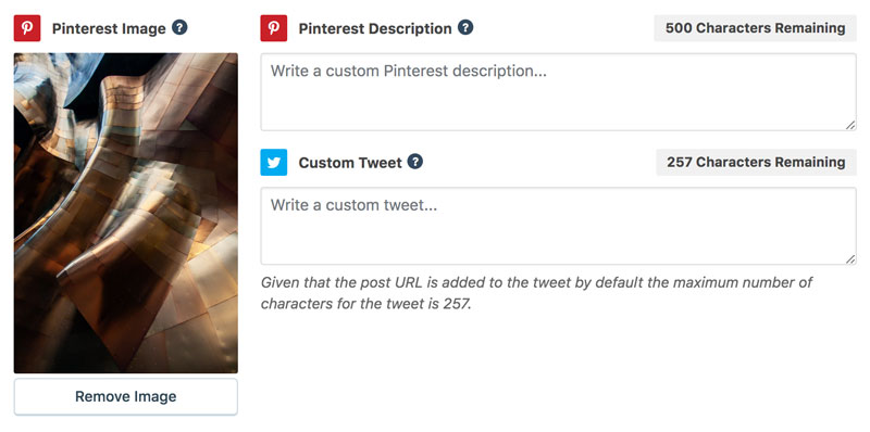 grow's pinterest features showing that you can write a custom description