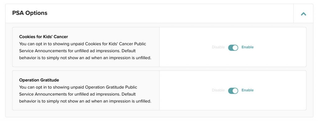 opt-in buttons for Operation Gratitude and Cookies for Kids Cancer PSAs