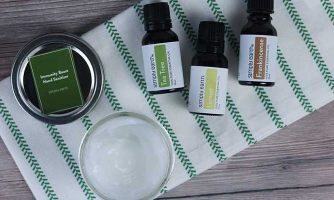 essential oils on a towel to make your own hand sanitizer