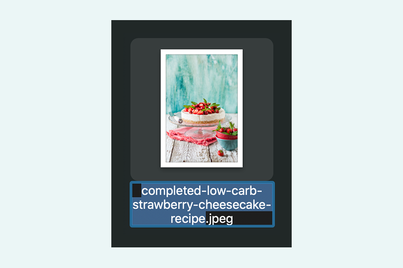 Image of cheesecake with descriptive file name underneath