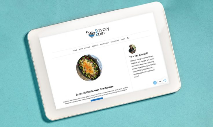 savory spin website on an ipad