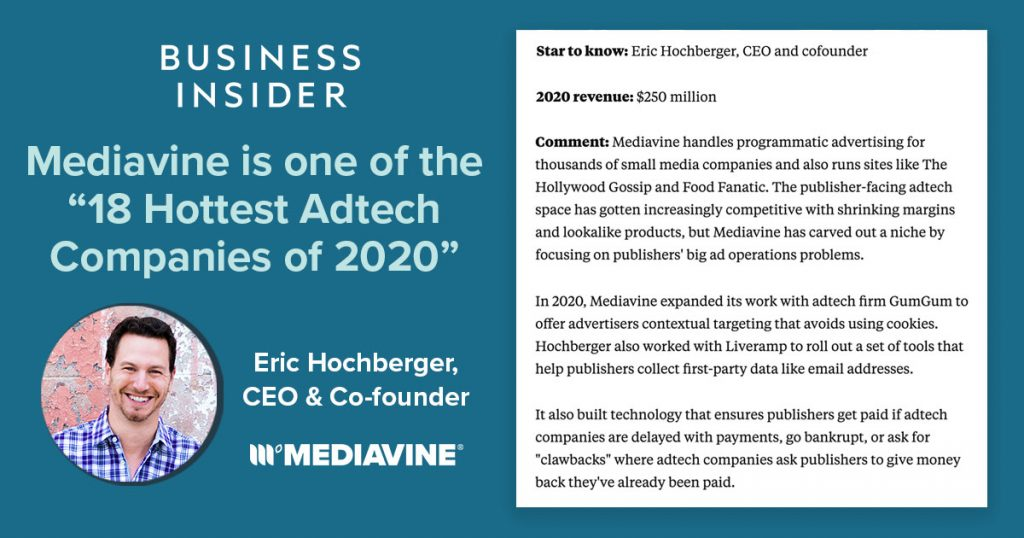 "graphic that says ""Mediavine is one of the 18 hottest adtech companies of 2020"" with the business insider article section on the right side"