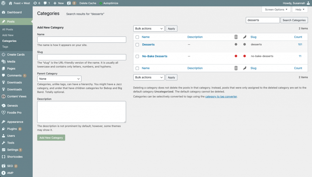 screenshot of a category edit page in wordpress