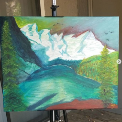 landscape painting of a mountain and water
