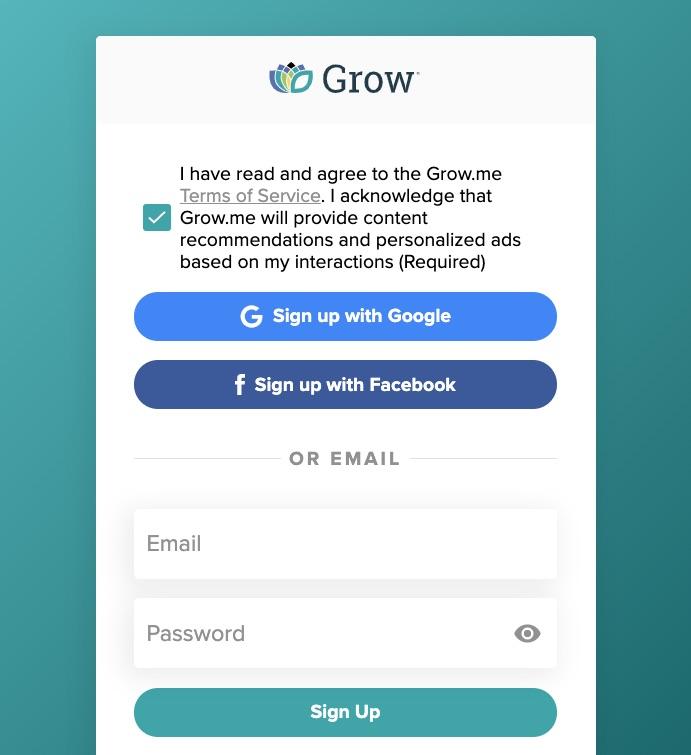 screenshot of the login for grow.me