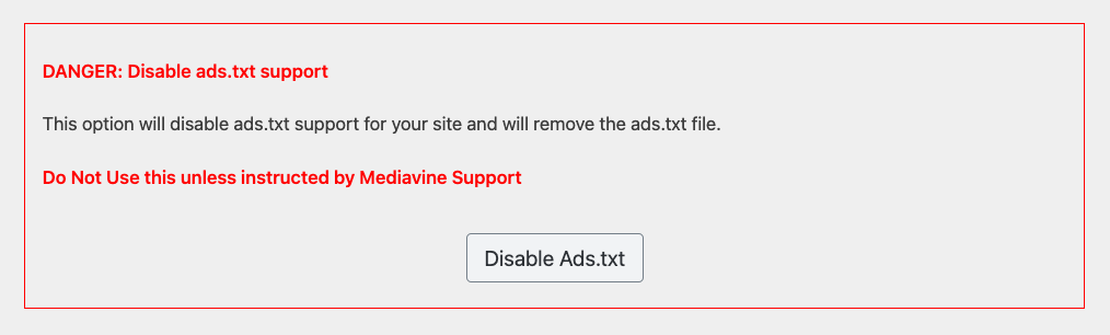 screenshot of disable button in the mediavine control panel.