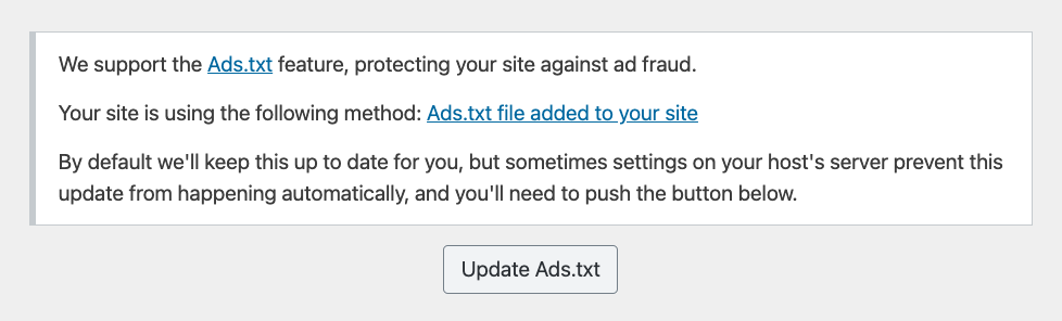 screenshot of ads.txt type in the mediavine control panel.