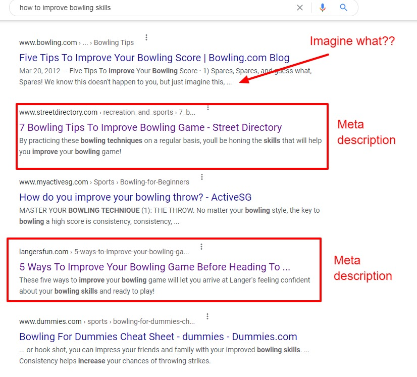 meta description examples from google search