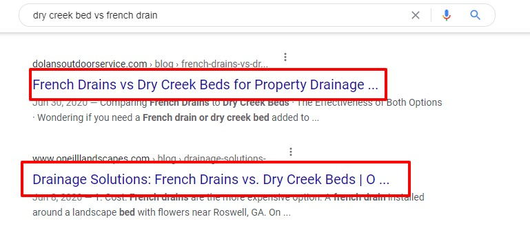 search result for dry creek bed vs french drain top results