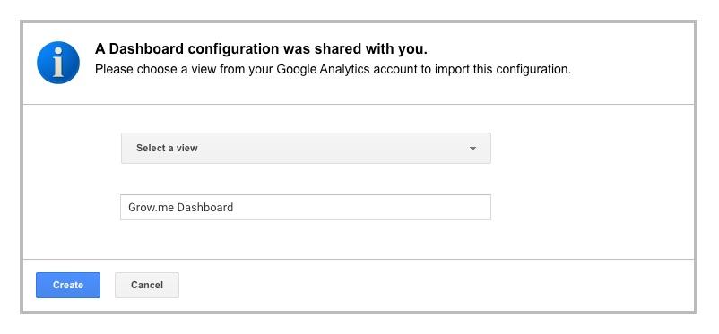 screenshot of adding grow.me google analytics dashboard
