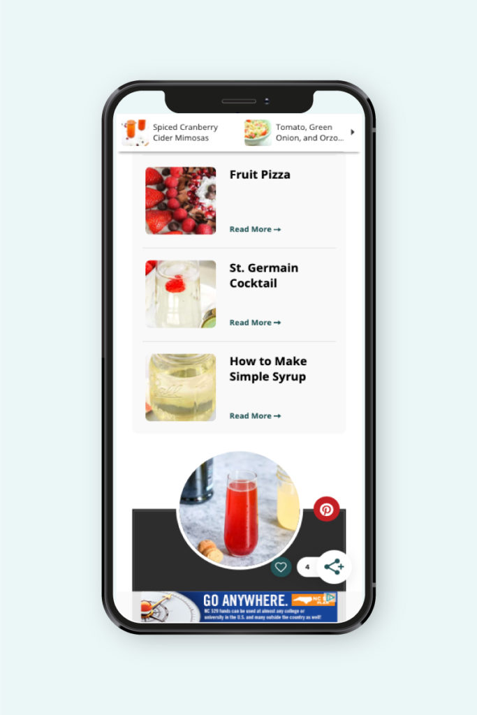 screenshot of the grow.me's recommended content widget.