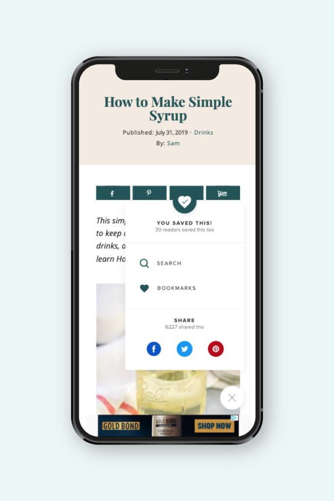 screenshot of the sharing options on mediavine's grow.me widget.