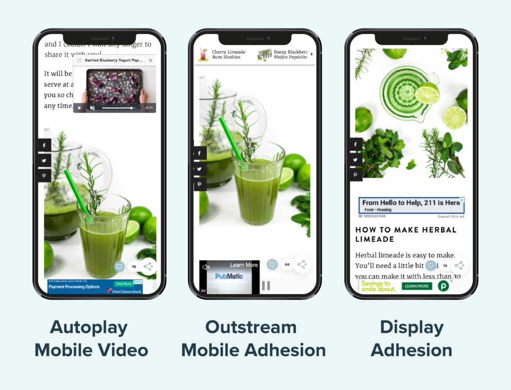 visual comparison on outstream adhesion unit, adhesion unit, and mobile autoplay