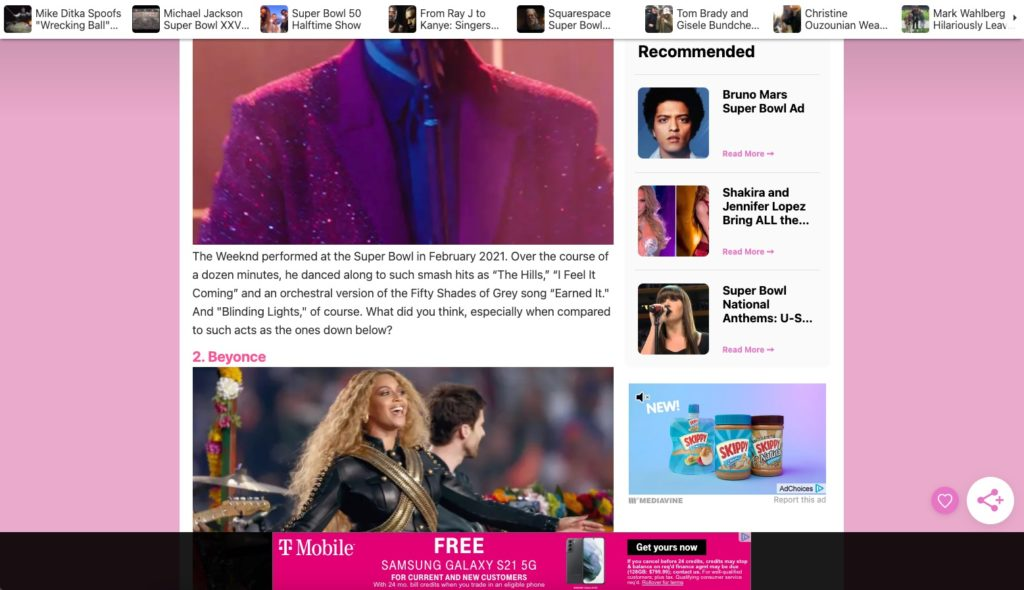 screenshot of recommended content on the hollywood gossip