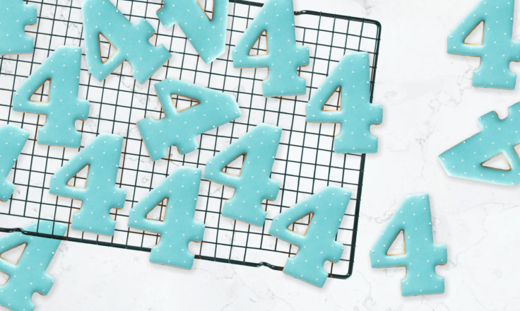 cookies shaped like the number 4