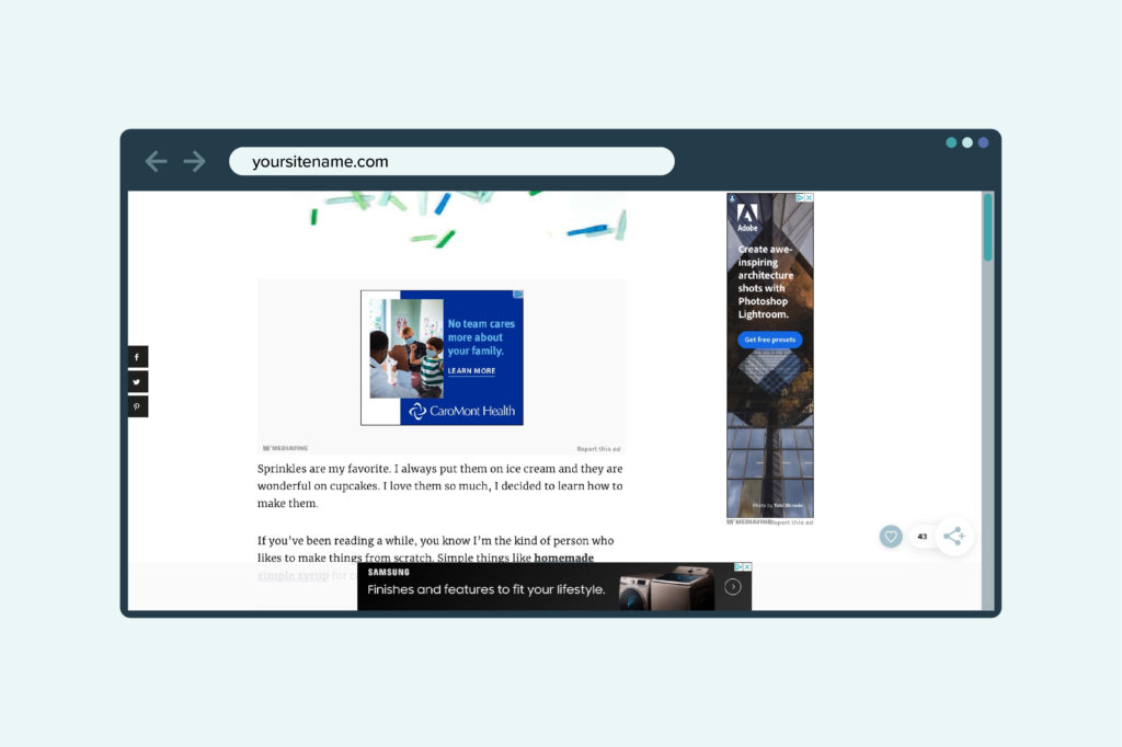 example of the ad box on a website