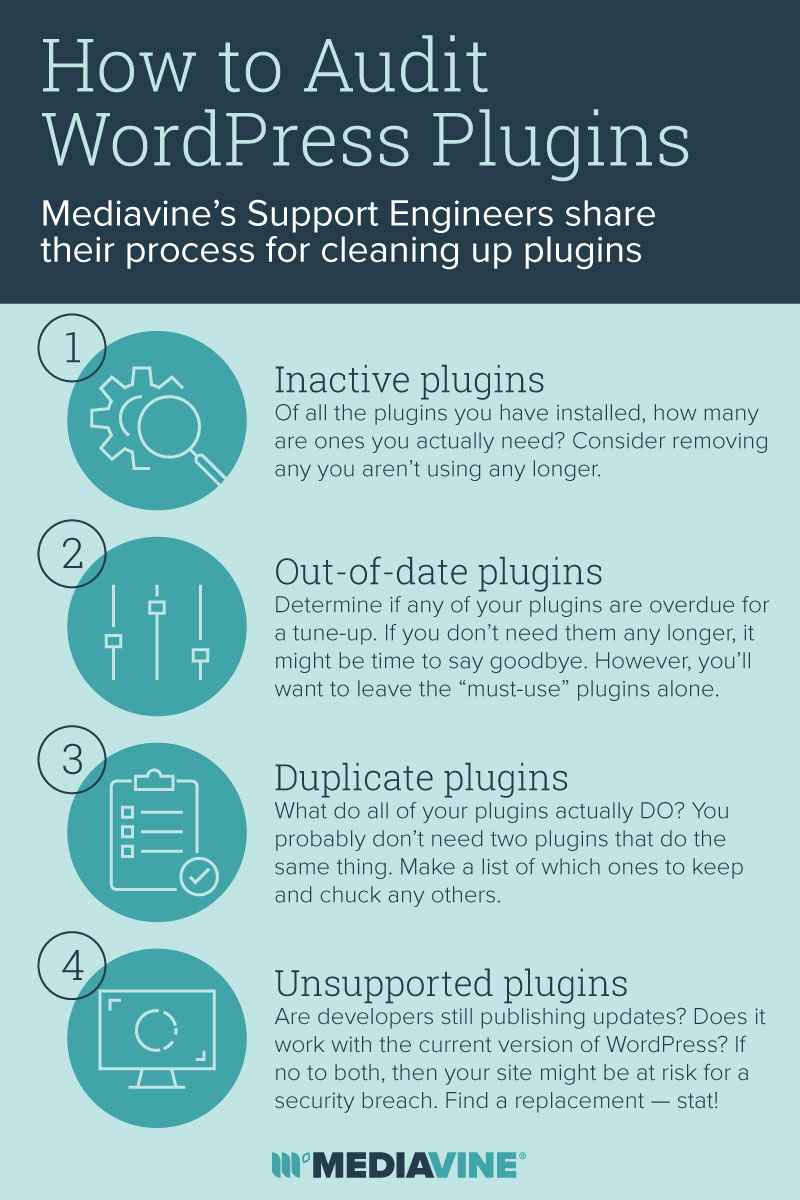 an infographic explaining the steps to a plugin audit