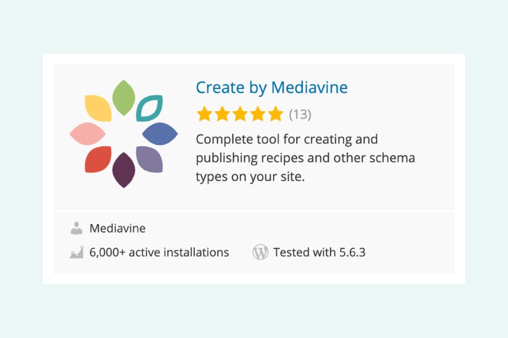 screenshot of mediavine create in the wordpress repository
