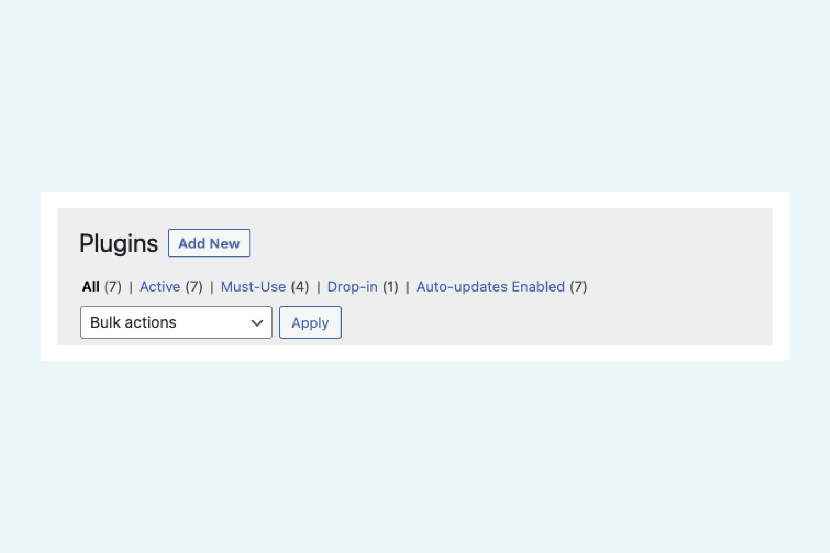 screenshot of the wordpress plugin update page options