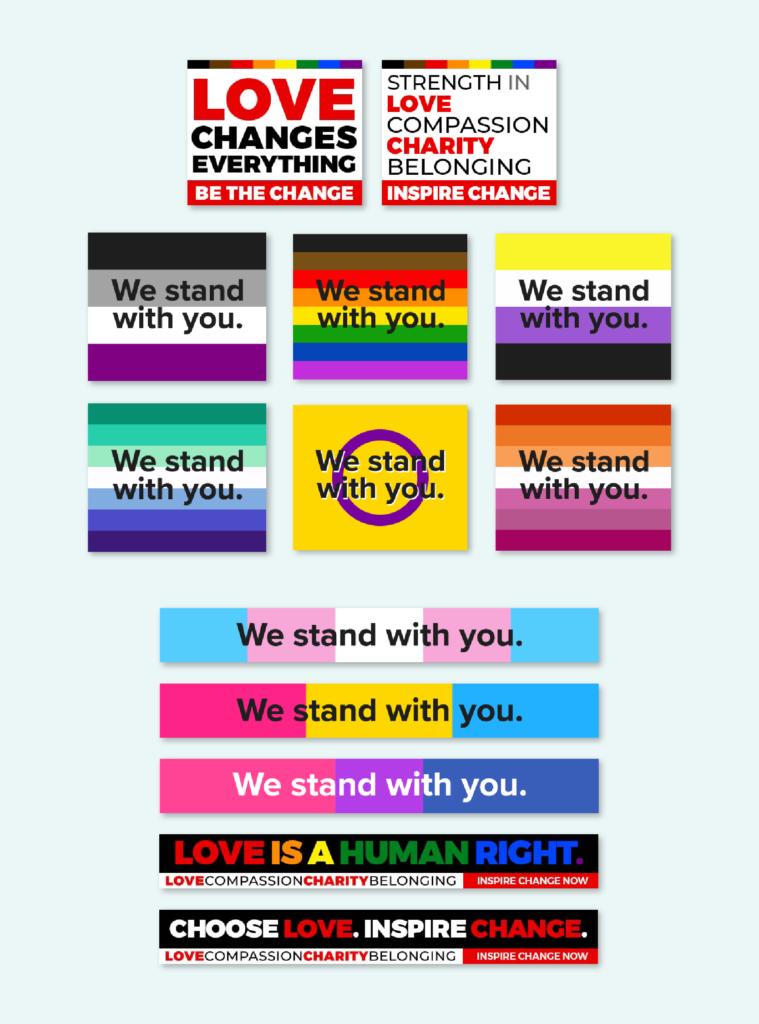 Various PSA creatives for PFLAG