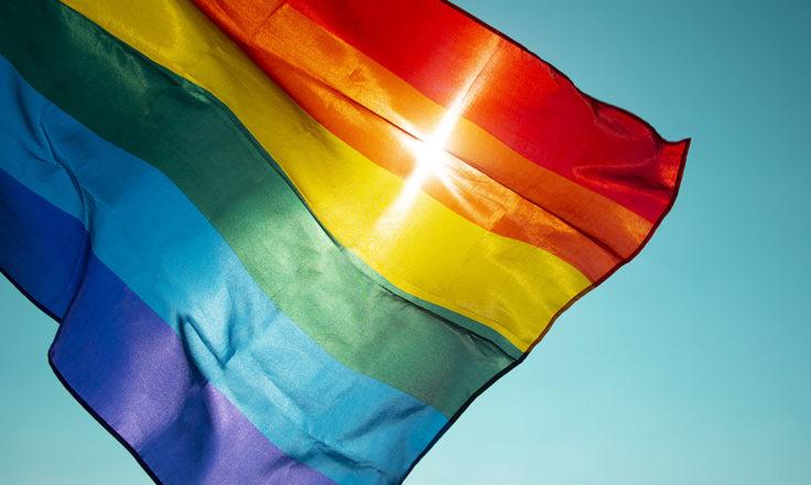 rainbow flag flying against the sky