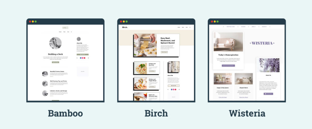 screenshots of the child themes bamboo, birch and wisteria