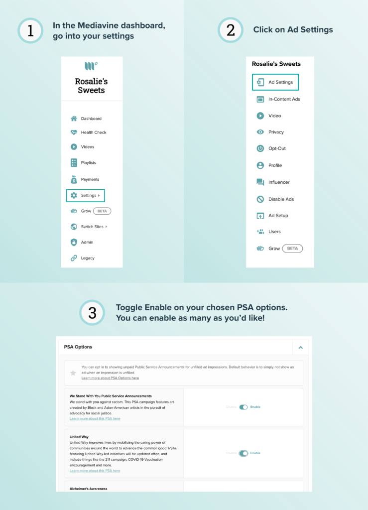 Step by step visual instructions for enabling PSA ads