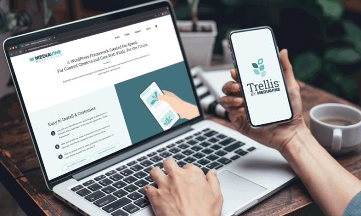 trellis logo on phone mediavine marketplace on a laptop