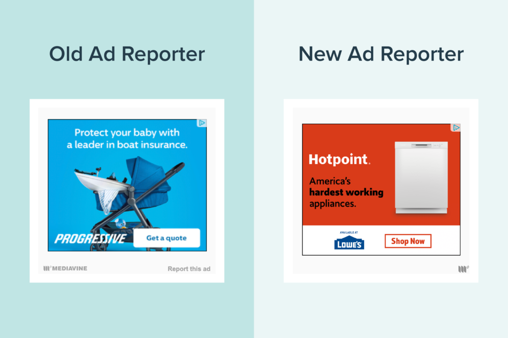 old versus new ad reporter side by side comparison