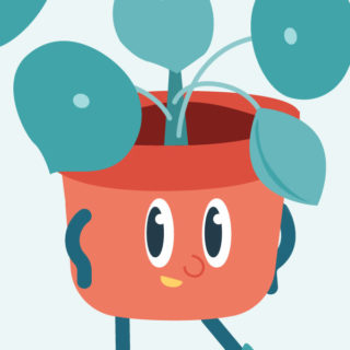 Potted pilea plant mascot illustration, close up on face